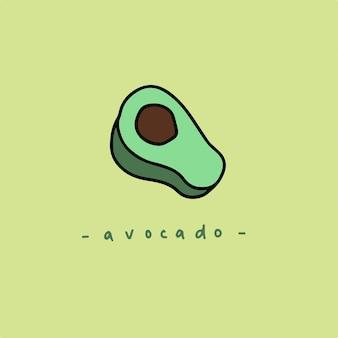 Avocado-scheibe-symbol-frucht-vektor-illustration