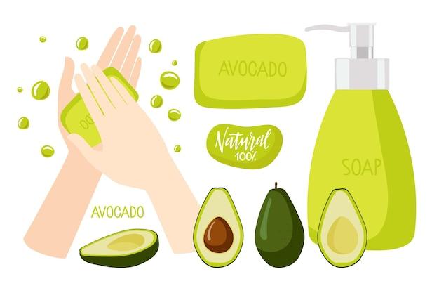 Avocado-seife zwei menschliche hände benutzten seifenstück seifenflasche mit flüssigseife avocadofrucht