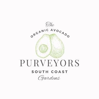 Avocado south farm abstrakte zeichen-, symbol- oder logo-vorlage.