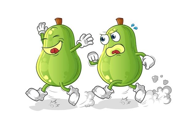 Avocado spielen verfolgungsjagd cartoon. cartoon maskottchen vektor