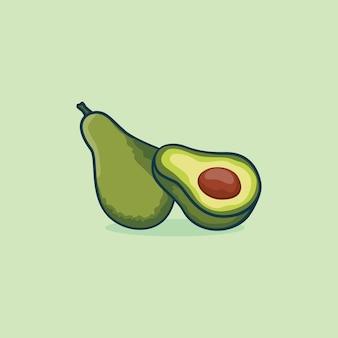 Avocado-symbol isoliert vektor-illustration mit einfacher farbe der umrisskarikatur