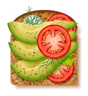 Avocado-toast mit frischen scheiben reifer avocado, gewürzen und dill, tomaten und radieschen.