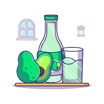 Avocado und milchflasche für weltmilchtag-karikaturillustration