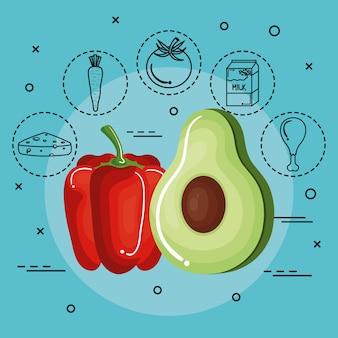 Avocado und pfeffer mit hand gezeichneten lebensmittelaufklebern über aquamarinem hintergrund. vektor-illustration.