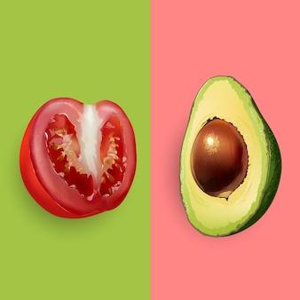 Avocado- und tomatenillustration