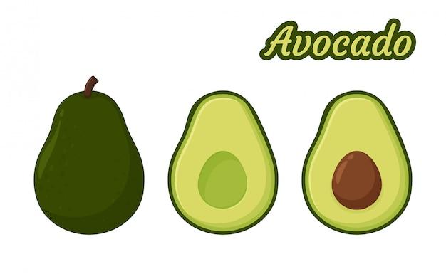 Avocado-vektor. gesunde frucht-avocado diese wurde halbiert, bis der samen im inneren sichtbar wurde.