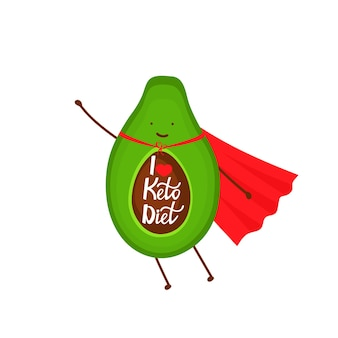 Avocado verkleidet als superhelden-cartoon-figur. ich liebe keto-diät - handgezeichnete schrift.