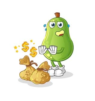 Avocado verweigern geld illustration. zeichenvektor