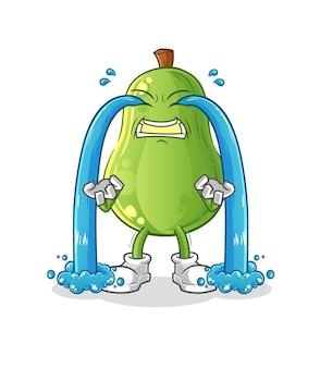 Avocado weinende illustration. zeichenvektor