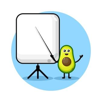 Avocado wird zu einem niedlichen charakterlogo des lehrers