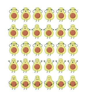 Avocado-zeichen in verschiedenen ausdrücken setzen illustration