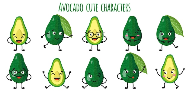 Avocadofrucht süße lustige fröhliche charaktere mit verschiedenen posen und emotionen. natürliche vitamin-antioxidans-detox-lebensmittelsammlung. cartoon isolierte abbildung.