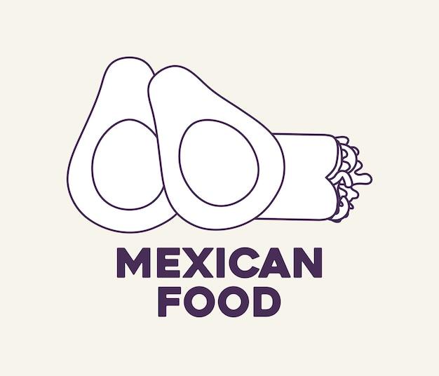 Avocados und mexikanischer burrito über weißem hintergrund, vektorillustration