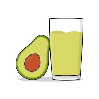 Avocadosaft mit avocado isoliert auf weiß