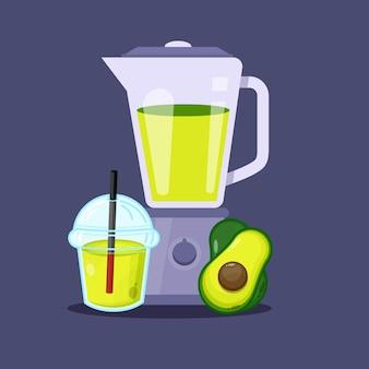 Avocadosaft mit plastikbecher-mixer-symbol