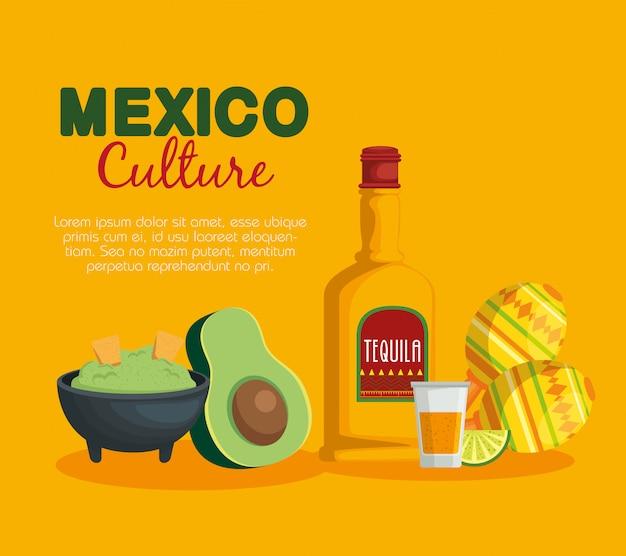 Avocadosoße mit mexikanischem lebensmittel und maracas des tequila