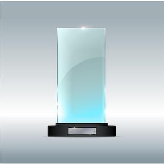 Award-glas-trophäe-vektor-illustration auf einem transparenten hintergrund