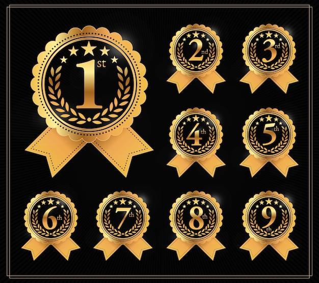 Award golden label des gewinners.