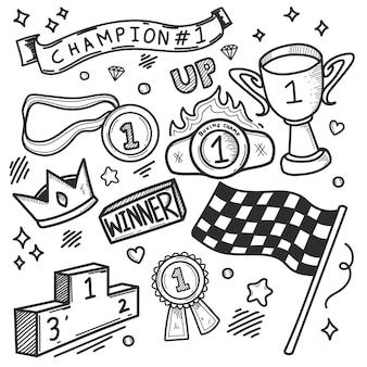 Award icons hand gezeichnete doodle färbung