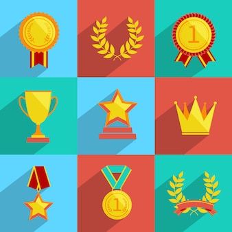 Award icons set farbig