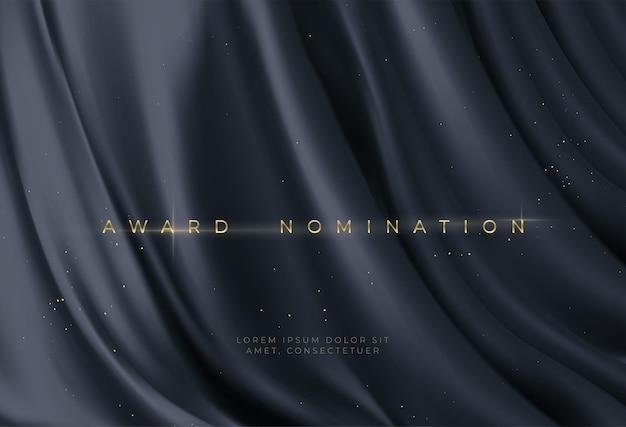 Award-nominierung auf luxuriösem schwarzen wellenhintergrund