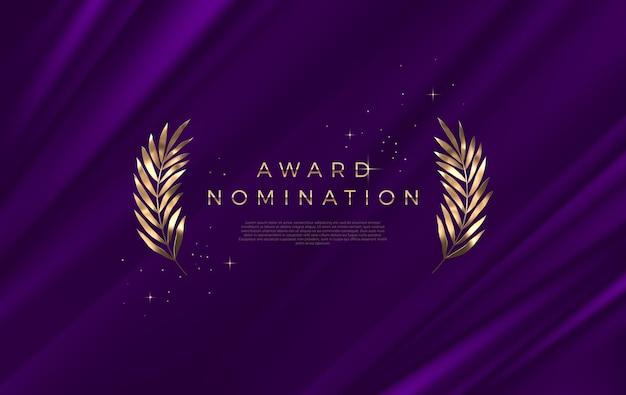 Award-nominierung - designvorlage. goldene blätter auf einem lila stoffhintergrund.