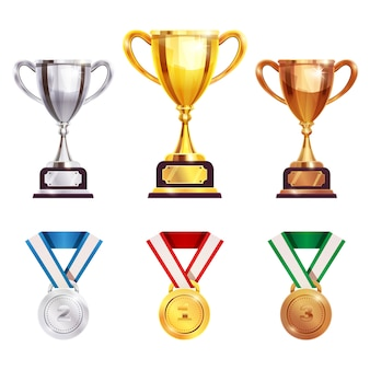 Award trophy medal realistic set