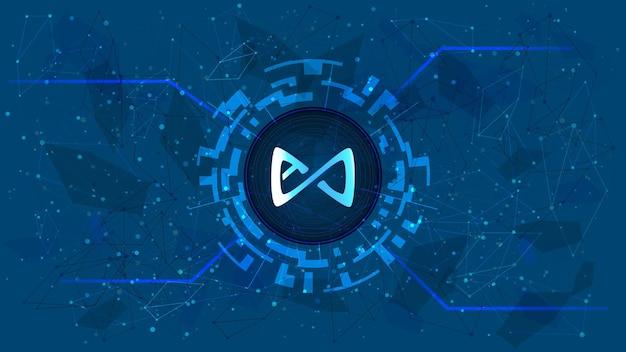 Axie infinity axs-token-symbol im digitalen kreis mit futuristischem kryptowährungsthema auf blauem hintergrund. kryptowährungs-münzensymbol für banner oder nachrichten. vektor-illustration.