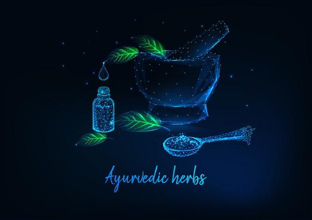 Ayurvedisches kräuterkonzept mit mörtel