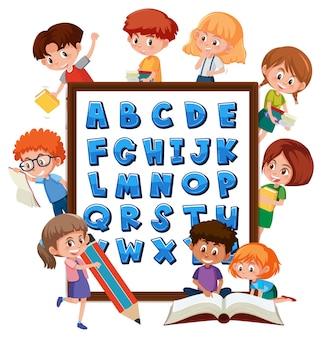 Az alphabet board mit vielen kindern, die verschiedene aktivitäten ausführen