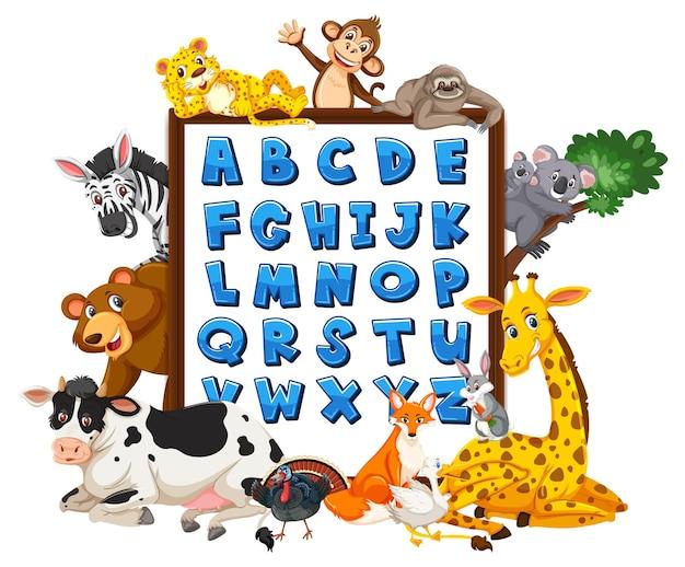 Az alphabettafel mit wilden tieren