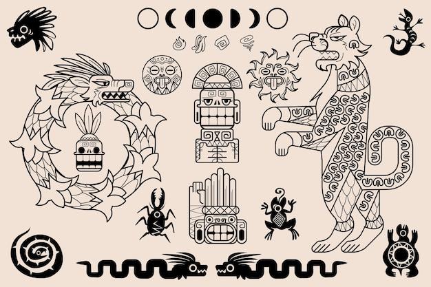 Azteken- und maya-ornamente