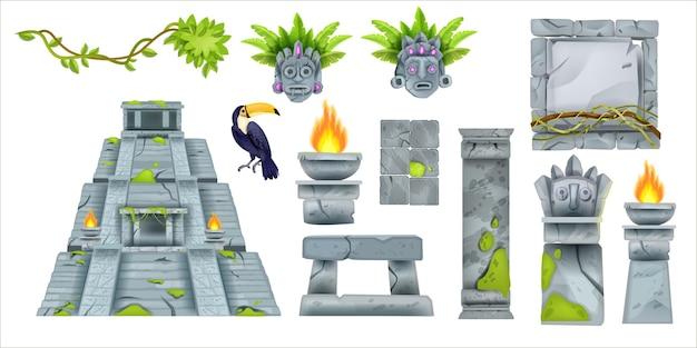 Aztekische maya alte kultur gesetzt vektor-cartoon-totem-stammes-elemente alte pyramide steinschild