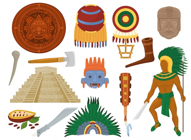 Aztekische mexikanische alte kultur in mexiko und maya-manncharakter der maya-zivilisationsillustrationssatz des traditionellen ethnischen pyramiden- und ritualdekorationssymbols lokalisiert auf weißem hintergrund