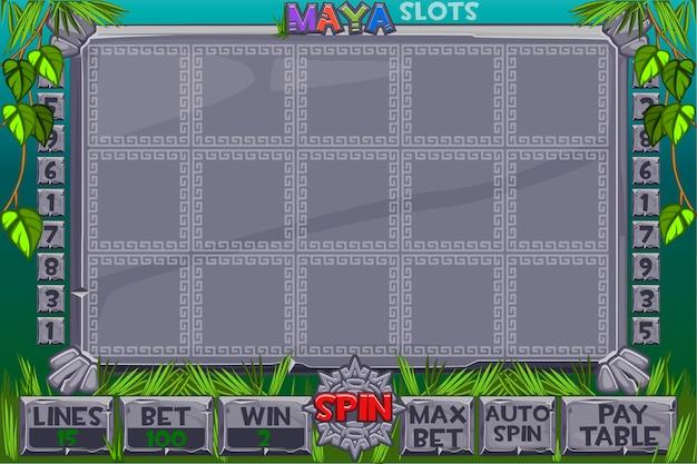 Aztekische slots. komplettes menü mit grafischer benutzeroberfläche und vollständigen schaltflächen für die erstellung klassischer casinospiele. interface-spielautomat im maya-stil