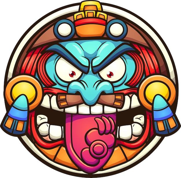 Aztekische sonne mit wütendem gesichtskarikatur