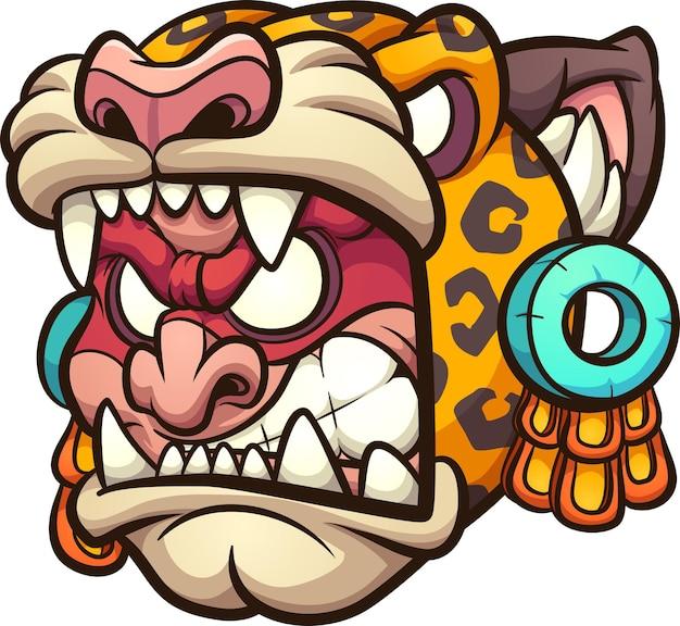 Aztekischer jaguar-krieger mit wütendem gesichtskarikatur