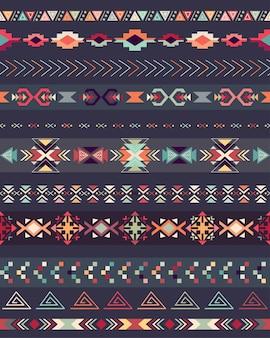 Aztekisches nahtloses muster auf einem dunklen hintergrund