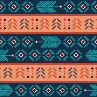 Aztekisches nahtloses muster mit böhmischer streifenzusammenfassung