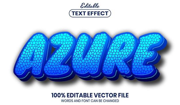 Azurblauer text, bearbeitbarer texteffekt im schriftstil