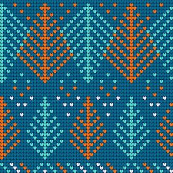 Azurblaues nahtloses muster der weihnachtshässlichen strickjacke