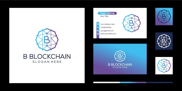 B blockchain logo template technologie vektordesign kryptowährung hexagon