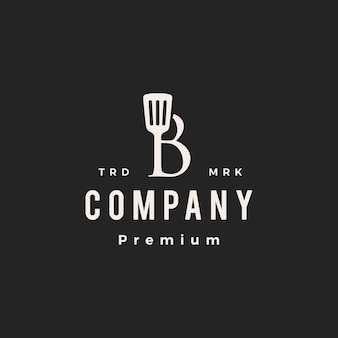 B briefmarke spachtel küchenchef koch hipster vintage logo vektor icon illustration