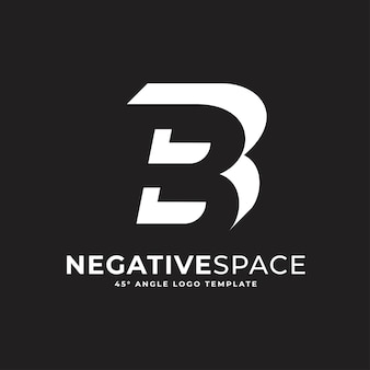 B buchstabe negativer raum geometrische alphabet zeichen logo vektor icon illustration