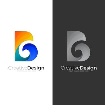 B-logo und wasserwellen-designkombination, bunte 3d-logos
