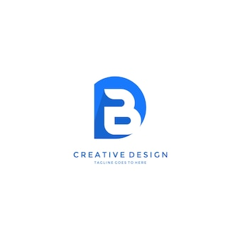 B nach innen lokalisiertem d-buchstabe logo design