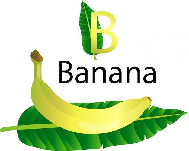 B schrift mit banane