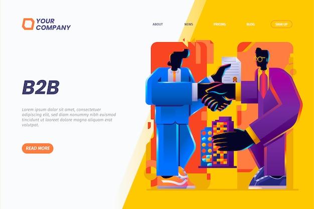 B2b. business-to-business- und partnerschafts-landingpage-illustration