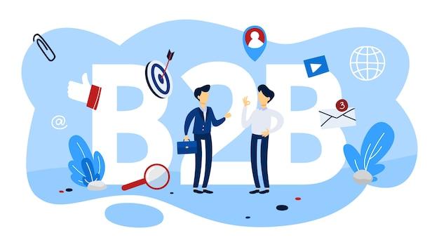 B2b-konzept. business-to-business-art der kommunikation. marketingstrategie und handel. unternehmen als kunde. eben