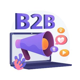 B2b-marketing. geschäftszusammenarbeit, smm, internetbenachrichtigung. flaches designelement der online-werbekampagne. anzeigen in sozialen netzwerken.